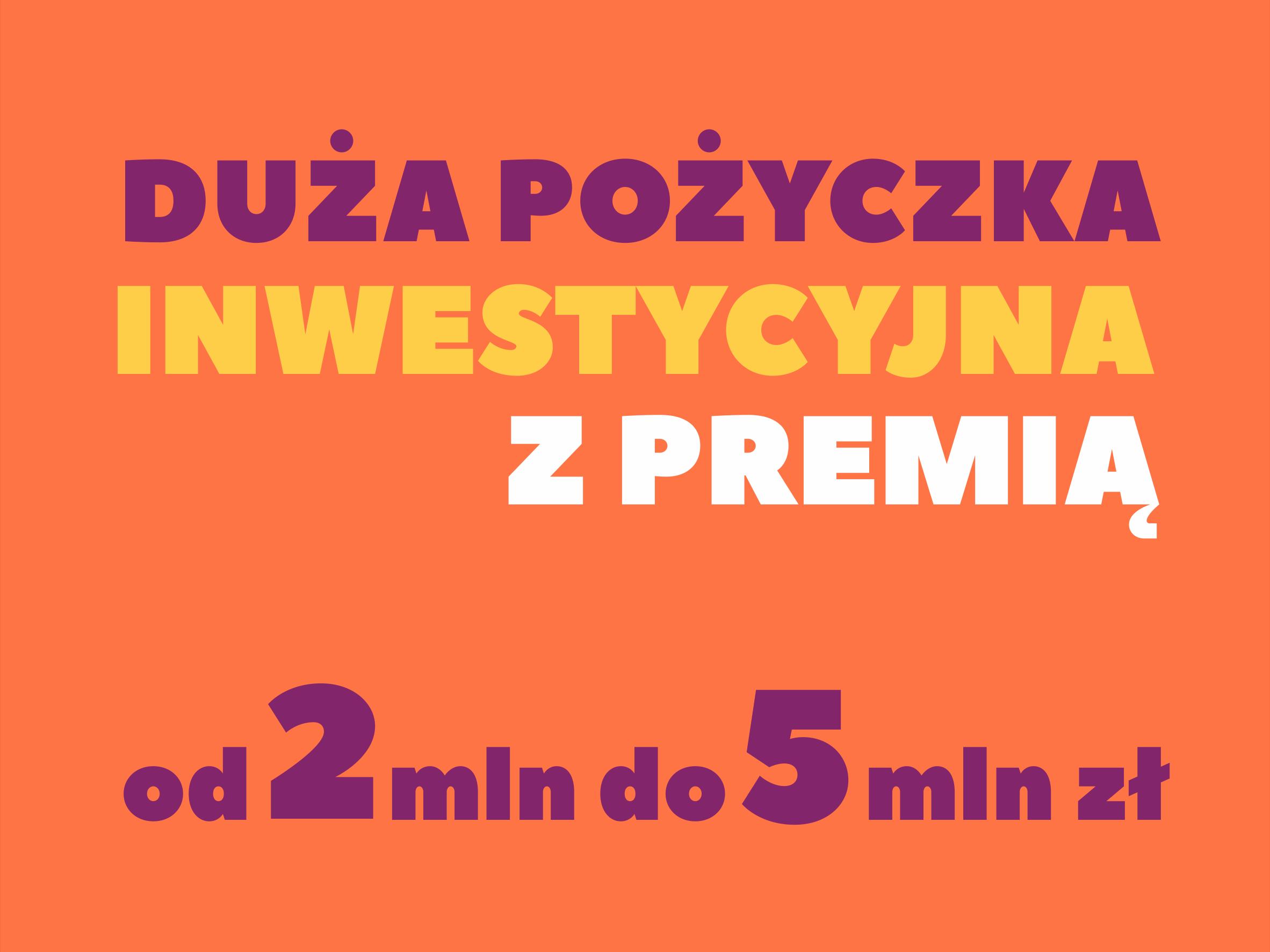 Duża Pożyczka Inwestycyjna z premią od 2 do 5 mln zł